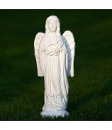 Anjel s vencom stojaci biely cement 33cm