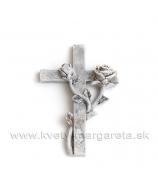 Krížik objatý ružami sivý 7.5 cm