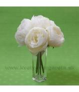 Kytica Pivónie 6 kvetov maslovo-biela 25cm