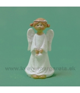 Anjelik s čelenkou držiaci srdce biely 5.5 cm