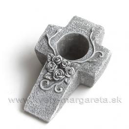 Krížik šikmý s otvorom a kvetinovým reliéfom 22x14 cm